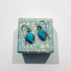 Stamped silver and turquoise earrings